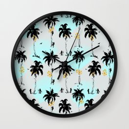 Pattern with coconut pickers Wall Clock