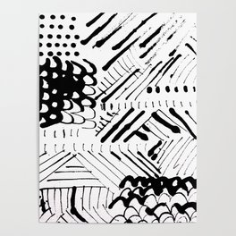 Black and White Ink Abstract Mark Making Pattern Poster