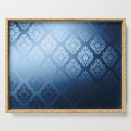 """Navy blue Damask Pattern"" Serving Tray"