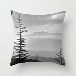 Rainbow clouds at the mountains at sunrise. BW Throw Pillow