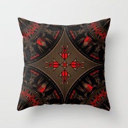 buffalo gathering Red Throw Pillow