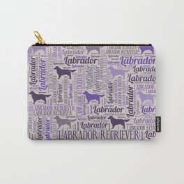 Labrador retriever silhouette and word art pattern Carry-All Pouch