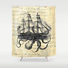 Kraken Octopus Attacking Ship Multi Collage Background Shower Curtain