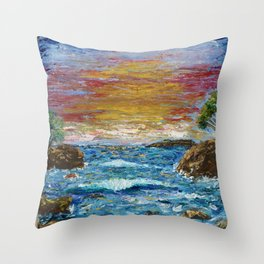 """Somewhere Sunset"" Throw Pillow"