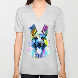 German Shepherd Watercolor, Watercolor Dog print, German Shepherd Print, German Shepherd Art Unisex V-Neck