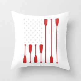 American Flag Paddle Fishing Shirt For Fishers Fishermen T-shirt Design Hook Lure Lake Ocean Sea Throw Pillow