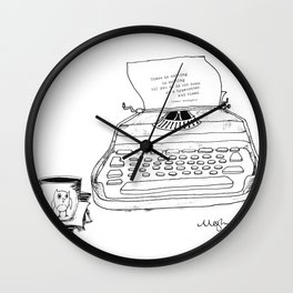 Earnest Hemingway Writing on Typewriter Wall Clock