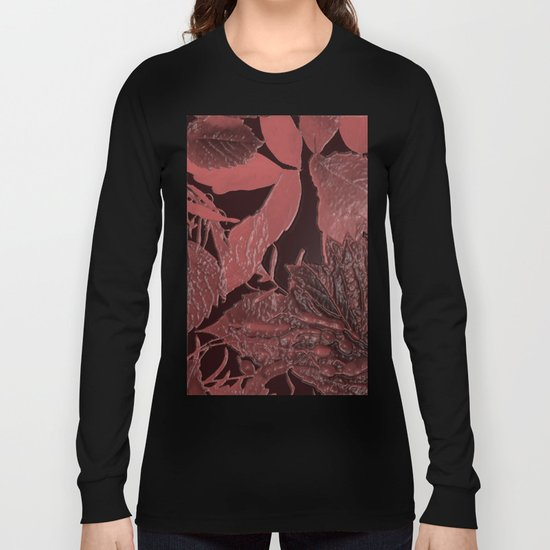 Burgundy leaves on black background abstract design vintage style Long Sleeve T-shirt