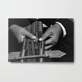 Weaver Hands Metal Print