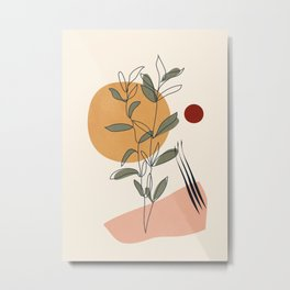 Minimal Line Young Leaves Metal Print