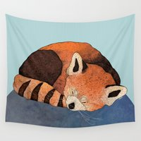 red panda Wall Tapestries featuring Red Panda by Diana Hope