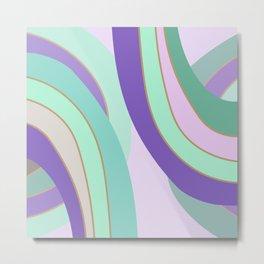 Retro lilac mint curvy lines pillow Metal Print
