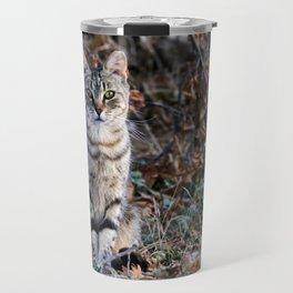 Sitting cat posing Travel Mug
