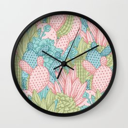 Pastel Cacti Obsession #society6 Wall Clock