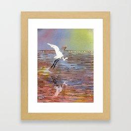 Jamaican crane flying over water in Montego Bay.  Watercolor painting crane art bird Jamaica Framed Art Print