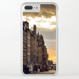 Royal Mile Sunrise in Edinburgh, Scotland Clear iPhone Case