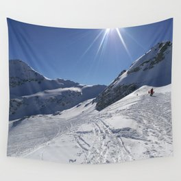 Up here, with sun and snow Wall Tapestry