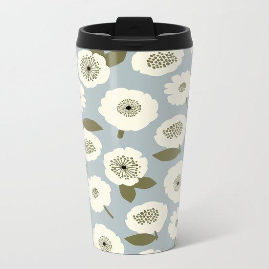 Floating Flowers Grey Metal Travel Mug