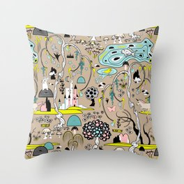 Magical Garden (Beige) Throw Pillow