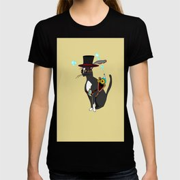 A Cool Steampunk Cat with Feather in his Hat T-shirt