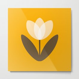 Tulip in Mustard Yellow Metal Print