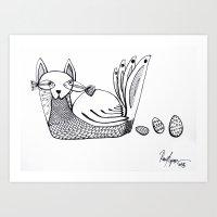 The black & white Cat-Turkey//El Gato-pavo Blanco & Negro. Art Print