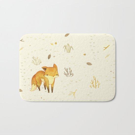 Lonely Winter Fox Bath Mat