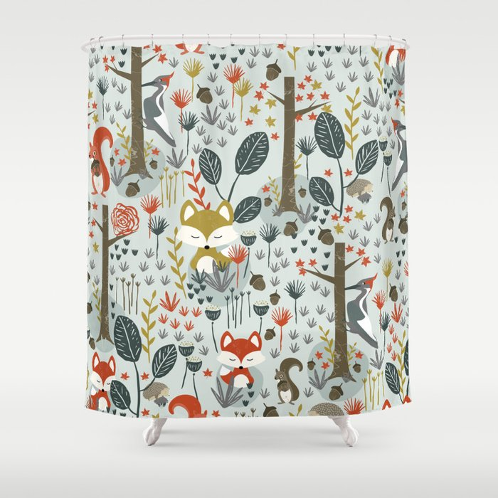 Rustic  Woodland Animals Shower Curtain
