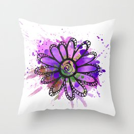 GC031-7 Colorful watercolor doodle flower green and purple Throw Pillow