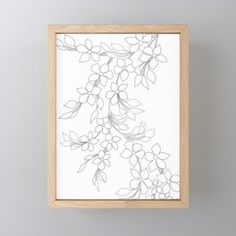 Minimal Wild Roses Line Art Framed Mini Art Print