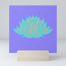 Lotus blue /mint Meditation Through Pillow Mini Art Print