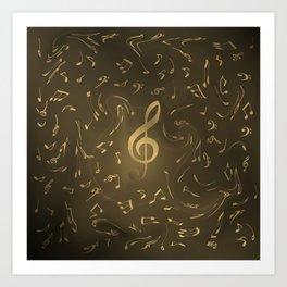gold music notes swirl pattern Art Print