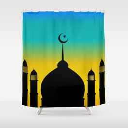 Mosque dome and minaret silhouette with moon during sunset - eid gifts Shower Curtain