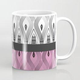 Art Deco 55 . White black and pink textures . Coffee Mug