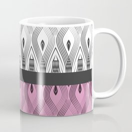 Art Deco 55 . White black and pink textures . Coffee Mug