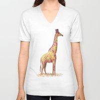 giraffe V-neck T-shirts featuring Fashionable Giraffe by Terry Fan