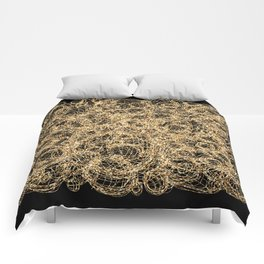 Gold Thread on Black | Abstract Brain Map 3 Comforters
