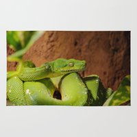 monty python Area & Throw Rugs featuring Green Tree Python by Photography by LutzPeter