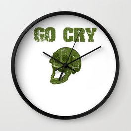 """Great Cooking Design For Chef T-shirt Design """"Go Cry In The Walk In"""" Fork Knife Fork Kitchen Dessert Wall Clock"""