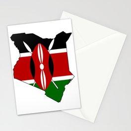Kenya Map with Kenyan Flag Stationery Cards