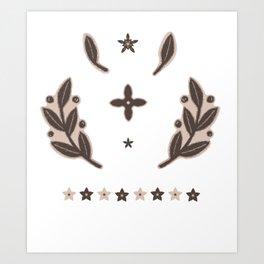 Rustic Linocut Folk Art Leaves Sticker Set Art Print