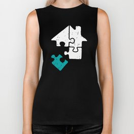 Puzzle in Turquoise puzzle day logical thinking brain teasers Biker Tank