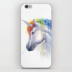 Rainbow Unicorn Watercolor Animal Magical Whimsical Animals iPhone & iPod Skin