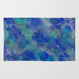 Painterly Midnight Flower Abstract Rug