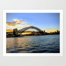 A Sunset Over The Harbour Bridge Art Print