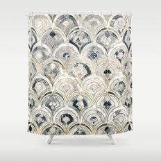 Monochrome Art Deco Marble Tiles Shower Curtain