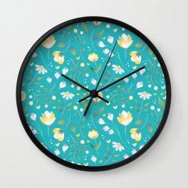 Colourscape Summer Floral Pattern Turquoise Lemon Wall Clock