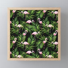 Flamingo and tropical branches Framed Mini Art Print