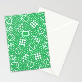 Abstract Memphis Style Pattern Green Stationery Cards