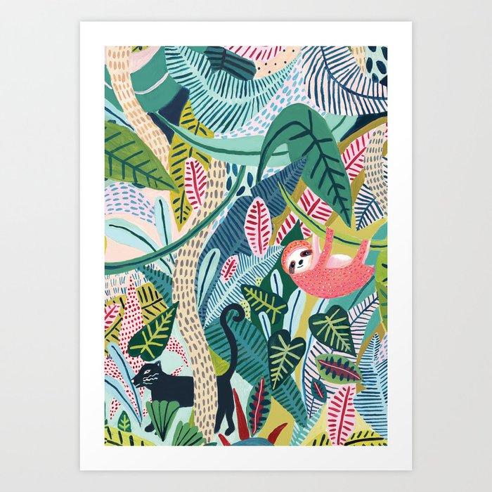 Jungle Sloth & Panther Pals Kunstdrucke